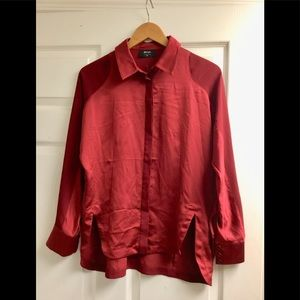 Nash Gal satin deep red color shirt size XS